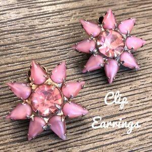 Vintage Pink Austrian Crystal Star Flower Clips